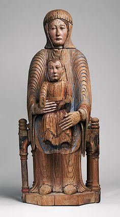 Anonimo scultore francese - Vergine e il Bambino in Maestà - 1150–1200 - Scultura in noce - Metropolitan museum of Art