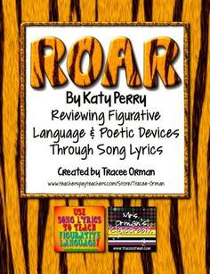 """""""Roar"""" By Katy Perry Figurative Language & Poetic Devices Exercises with poetry connections/comparisons"""