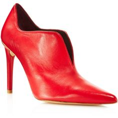 Stuart Weitzman Rhythm Leather Pointed Toe High Heel Booties ($480) ❤ liked on Polyvore featuring shoes, boots, ankle booties, red, pointed toe booties, red leather booties, red leather boots, high heel boots and leather booties