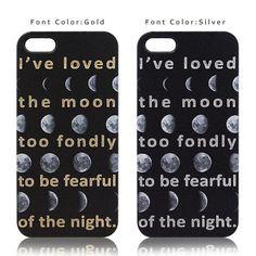 """月の満ち欠けを並べたプリントケース。英字部分はそれぞれゴールドとシルバーの箔押し加工を施しています。""""I've loved the mo... ハンドメイド、手作り、手仕事品の通販・販売・購入ならCreema。"""
