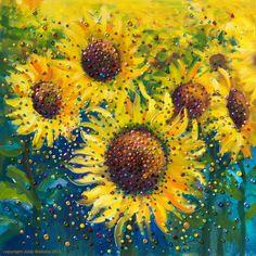 Image of Sunflower Life-Joy Energy Painting - Gicleee Print - Feel happy today