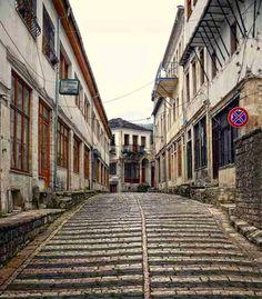 Pebble roads in Gjirokaster, Albania