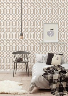 Self adhesive Removable wallpaper, tapestry  - Trellis wallpaper pattern print - 102 CHAMPAGNE/ SNOW