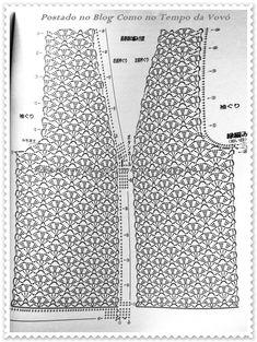 Como No Tempo da Vovó: LINDO COLETE EM CROCHÊ COM GRÁFICOS Crochet Bolero Pattern, Débardeurs Au Crochet, Gilet Crochet, Crochet Jumper, Crochet Jacket, Freeform Crochet, Crochet Diagram, Crochet Blouse, Crochet Chart