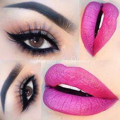 Smokey eye with pink lips..