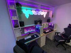 Our his and her gaming setup is getting there :) It's inspired by synthwave/ vapourwave aesthtics and designed from the ground up to hide any cable except our custom mouse and keyboard wires :) : battlestations Gaming Computer Setup, Gamer Setup, Gaming Room Setup, Pc Setup, Custom Gaming Desk, Best Gaming Setup, Computer Desks, Neon Led, Video Game Rooms