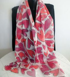 Hand painted silk scarf with hearts