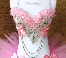 Items similar to Pre Made - Pink Silver Princess Rave Bra, Rave Top, Light Pink Roses EDM Floral Bra on Etsy Light Pink Flowers, Pink Roses, Silver Roses, Edm Outfits, Dance Outfits, Burlesque Costumes, Dance Costumes, Bling Bra, Bedazzled Bra