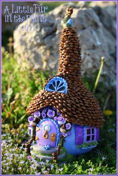 Изумительные сказочные домики из тыквы, полимерной глины и шишек (29) (469x700, 300Kb)