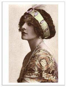 art nouveau lady postcard