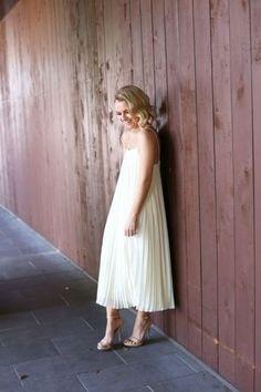 Silk Pleated Midi Dress - via @poorlilitgirl