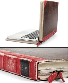 from tumblr, a laptop covering using an over-sized vintage book cover (how this would work, I don't know, but how awesome an idea!)