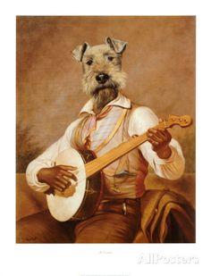 Art Print: Anthropomorphic Animals Art Print by Thierry Poncelet by Thierry Poncelet : Animal Dress Up, Hamster, Pet Costumes, Animal Heads, Dog Portraits, Stretched Canvas Prints, Pet Clothes, Dog Art, Fine Art Prints