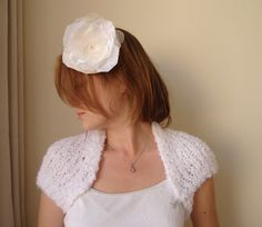 Soft White Knitting  Angel Bridal Shrug by boutiqueseragun on Etsy