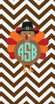 Monogrammed Turkey Iphone Ipad Wallpaper For Thanksgiving