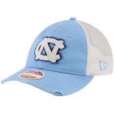 b526e915843 Men s New Era Carolina Blue North Carolina Tar Heels Frayed Twill Trucker  9TWENTY Adjustable Hat Acc