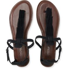 Aeropostale Fringe T-Strap Sandal ($24) ❤ liked on Polyvore featuring shoes, sandals, black, t strap sandals, synthetic shoes, black shoes, boho shoes and black t strap shoes