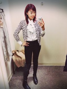 White shirt from CUE, leopard print cardigan, over knee boots, office outfit