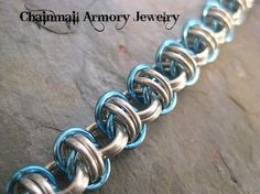 """Bracelet - Orbital Chain Bracelet with 3/16"""" rings - Silver and Blue Chainmail"""