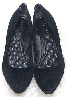 c7d0f69973d8 Cole Haan Slip on Shoes Ballet Flats sz B Black Gray Suede