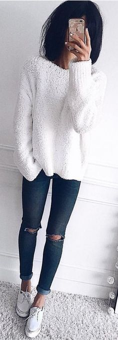 089fdcd6cfe  winter  outfits white sweater and blue skinny jeans Cute Winter Outfits