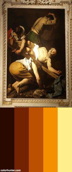 Caravaggio+-+Crucifixion+Of+Saint+Peter+Color+Scheme