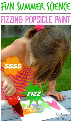 Fun summer science! Make fizzing popsicle paint that fizzes and bubbles when kids write.