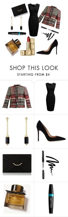 """elegant night"" by atodamadre-n on Polyvore featuring moda, Oscar de la Renta, David Yurman, Gianvito Rossi, L.K.Bennett, Bobbi Brown Cosmetics, Burberry y Guerlain"