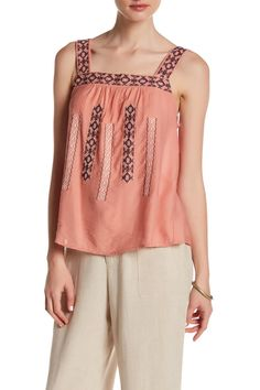 Sleeveless Embroidered Woven Tank