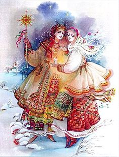 Didukh, Kalada and Midnight Star, Ukraine Winter Solstice - painting by…