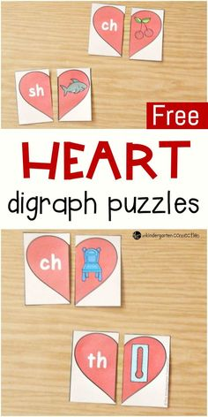 These heart-themed digraph puzzles are perfect for working on beginning digraph sounds sh, ch, th, and wh with early readers this Valentine's Day!  #valentinesday #Februaryliteracycenters #hearts
