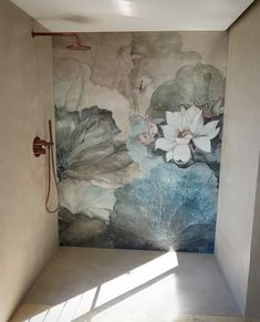Bathroom wallpaper wet system Niveum by Wall & Deco Dream Bathrooms, Beautiful Bathrooms, Mural Art, Wall Murals, Timeless Bathroom, Art Deco Bar, Bathroom Wallpaper, Art Deco Furniture, Inspiration Wall