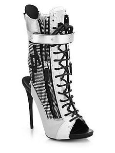 f3e145420ef Giuseppe Zanotti - Crystal-Embellished Peep-Toe Leather Mid-Calf Booties -  yes to crystals and reflective sheen
