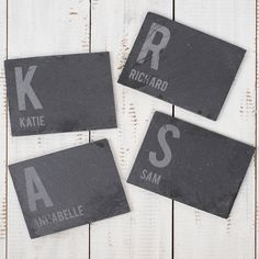 personalised set of 4 slate coasters first initial name gettingpersonalco