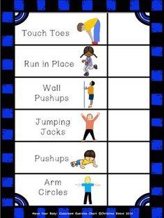 MOVE YOUR BODY: CLASSROOM EXERCISE CHART (AUTISM, SPECIAL ED) - TeachersPayTeachers.com