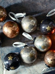 NEW Nine Starry Glass Baubles - Copper & Frost - Get The Look - Christmas