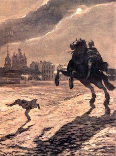 Bronze Horseman. Design for a cover to Pushkin's poem.  - Alexandre Benois