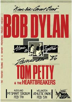 Bob Dylan / Tom Petty and The Heartbreakers Tour Posters, Band Posters, Travel Posters, Music Memes, Music Quotes, Life Quotes, Pop Rocks, Bob Dylan Poster, Vintage Concert Posters