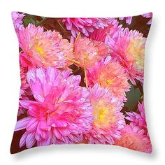 """Pink Baby Mums Throw Pillow 14"""" x 14"""" by Anna Porter"""