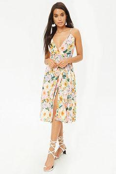 Knee-Length Floral Wrap Dress
