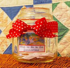 What to do in the summertime? A jar of activities to keep little minds and hands busy.