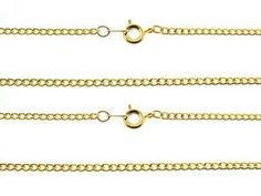 2 CURB 18 inch NECK CHAIN NEW white & yellow gold plate NICE CHAINS MADE IN USA!!
