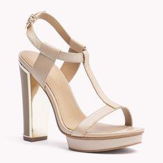 Ashley Sandal - Leather platform sandal with gold-look details #TommyHilfiger