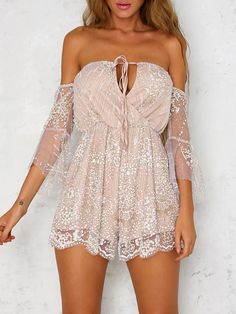 Off Shoulder Lace Patchwork Embellished Wrap Romper