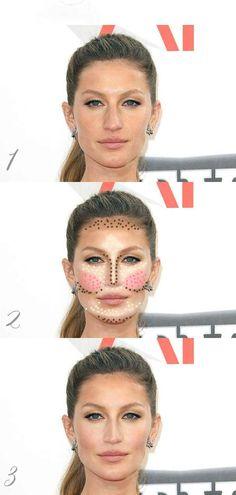 Highlight & Contour for the Oblong Face Shape Face Contouring, Contour Makeup, Contouring And Highlighting, Skin Makeup, Makeup Tips, Beauty Makeup, Hair Beauty, Drugstore Makeup, Long Face Contour