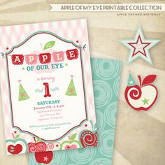 'Apple of Our Eye' Birthday Printable Invitations