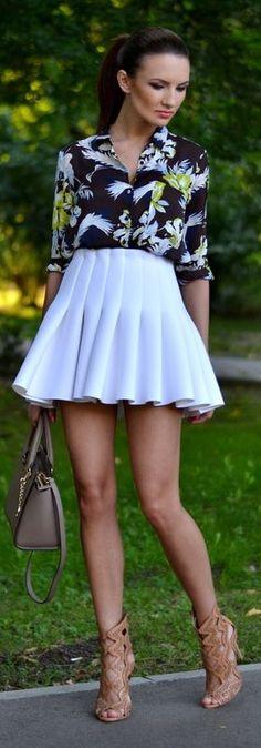 H&m White Mini Pleated High Rise Skater Skirt by My Silk Fairytale