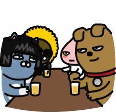 즐거움의 결정체~ 짱공유!!! Apeach Kakao, Friends Gif, Kakao Friends, Emoticon, Cute Cards, Coloring Books, Card Ideas, Fictional Characters, Gifs