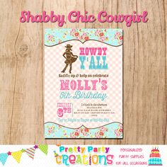 SHABBY CHIC COWGIRL invitation  You Print  by PrettyPartyCreations, $11.50