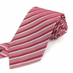 HUGO BOSS Italy 59 Classic Skinny Pink-Red White Striped Texture Silk Neck Tie | Men's Fashion & Style | Shop Menswear, Men's Clothes, Men's Apparel & Accessories at designerclothingfans.com | Find Sport Coats, Blazers, Suits, Shirts, Polos, Pants/Trousers and More...